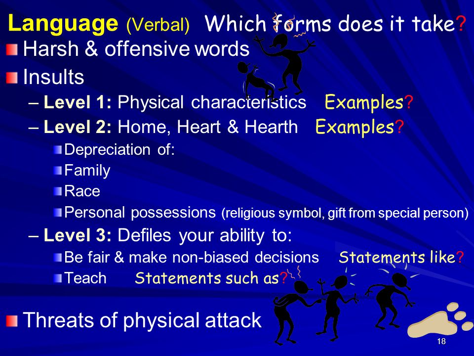 18 Language (Verbal) Which forms does it take .