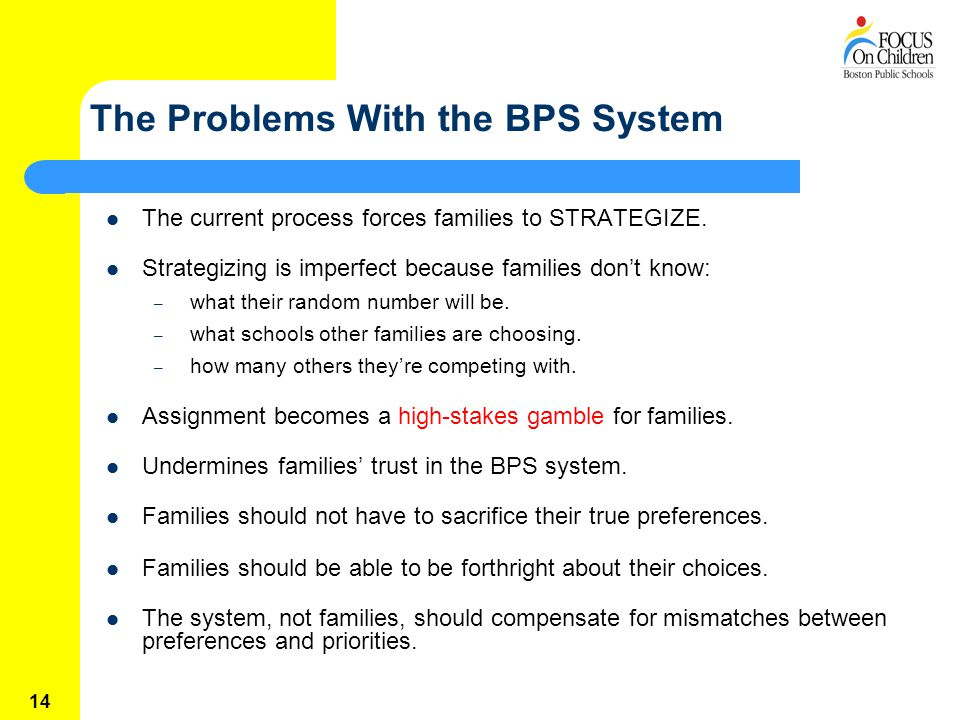14 The Problems With the BPS System The current process forces families to STRATEGIZE.