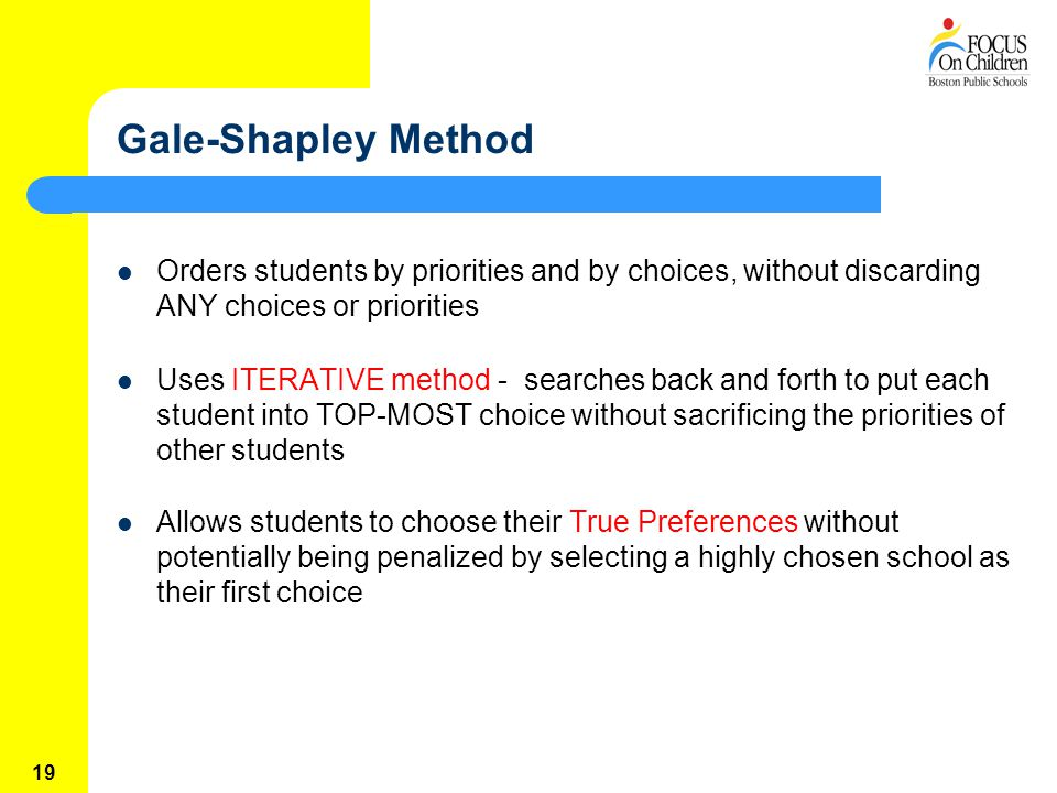 19 Gale-Shapley Method Orders students by priorities and by choices, without discarding ANY choices or priorities Uses ITERATIVE method - searches back and forth to put each student into TOP-MOST choice without sacrificing the priorities of other students Allows students to choose their True Preferences without potentially being penalized by selecting a highly chosen school as their first choice