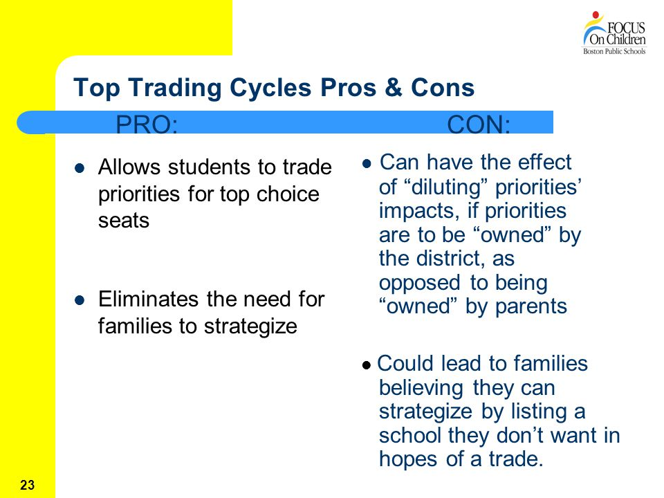 23 Top Trading Cycles Pros & Cons Allows students to trade priorities for top choice seats Eliminates the need for families to strategize Can have the effect of diluting priorities' impacts, if priorities are to be owned by the district, as opposed to being owned by parents Could lead to families believing they can strategize by listing a school they don't want in hopes of a trade.