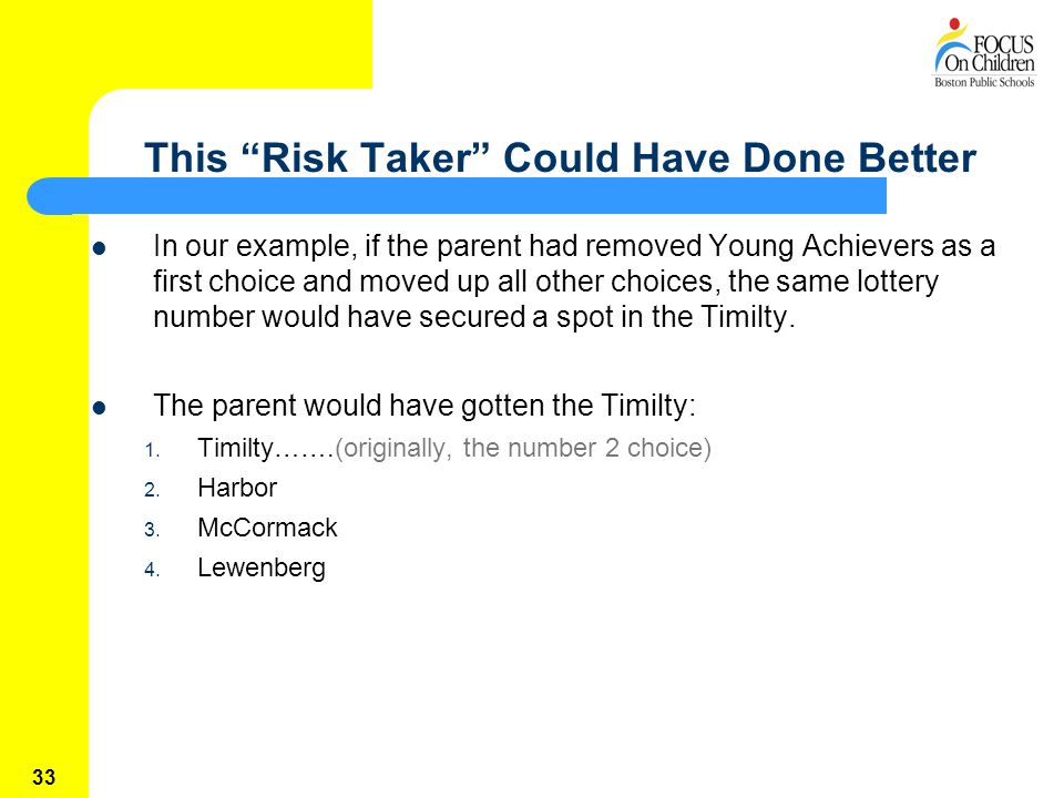 33 This Risk Taker Could Have Done Better In our example, if the parent had removed Young Achievers as a first choice and moved up all other choices, the same lottery number would have secured a spot in the Timilty.