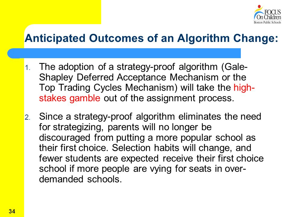 34 Anticipated Outcomes of an Algorithm Change: 1.