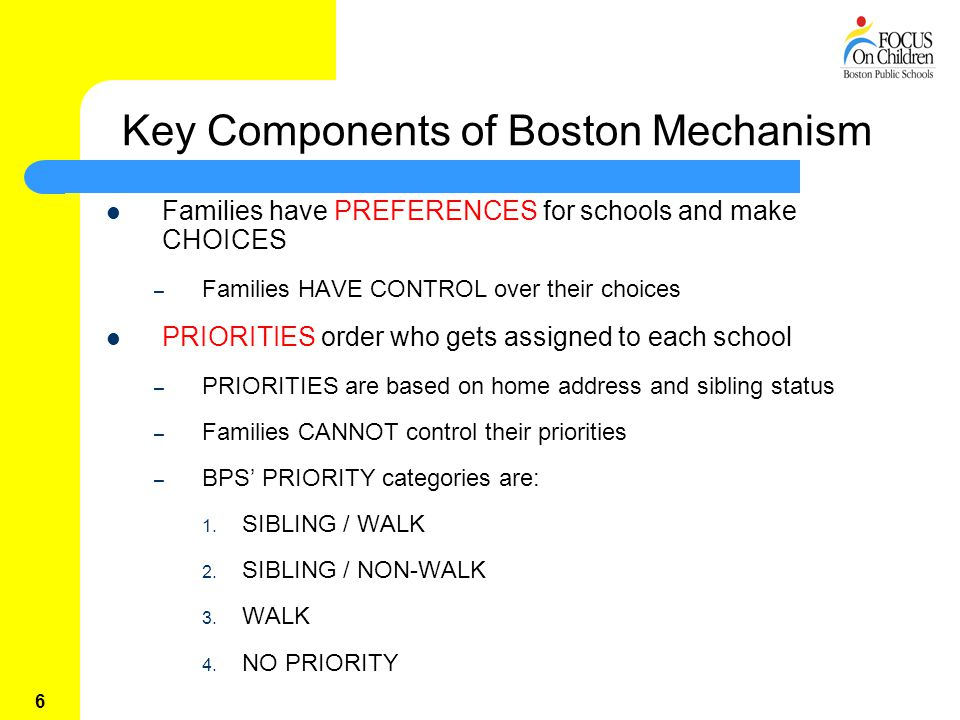 6 Key Components of Boston Mechanism Families have PREFERENCES for schools and make CHOICES – Families HAVE CONTROL over their choices PRIORITIES order who gets assigned to each school – PRIORITIES are based on home address and sibling status – Families CANNOT control their priorities – BPS' PRIORITY categories are: 1.