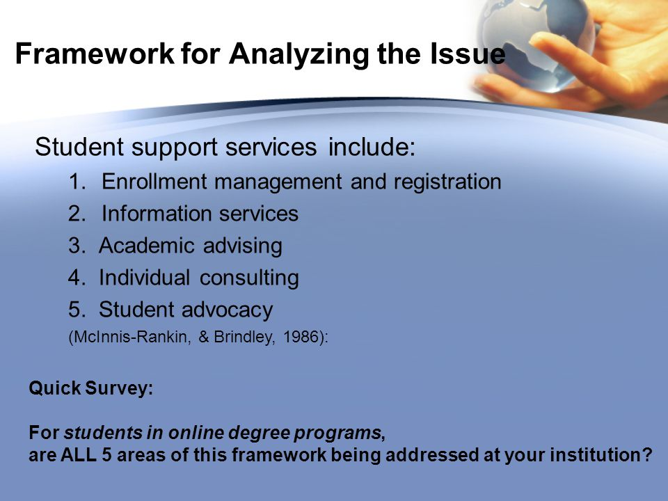 Framework for Analyzing the Issue Student support services include: 1.Enrollment management and registration 2.Information services 3.