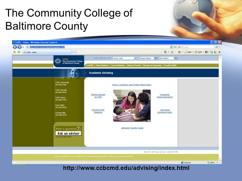 The Community College of Baltimore County http://www.ccbcmd.edu/advising/index.html