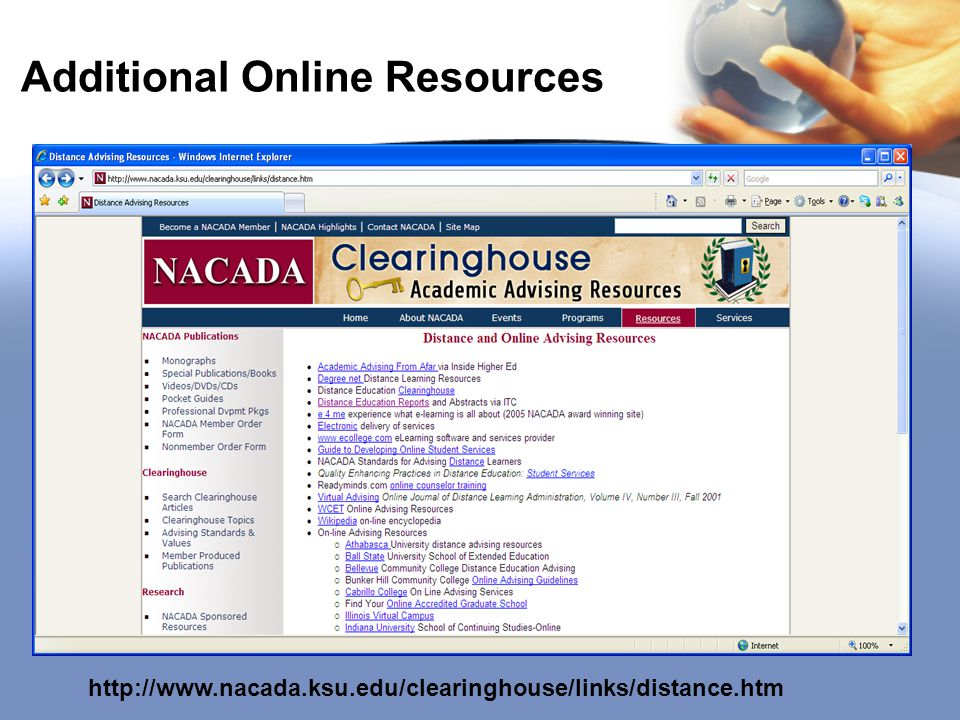 Additional Online Resources http://www.nacada.ksu.edu/clearinghouse/links/distance.htm