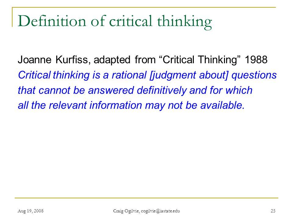 kurfiss 1988 critical thinking