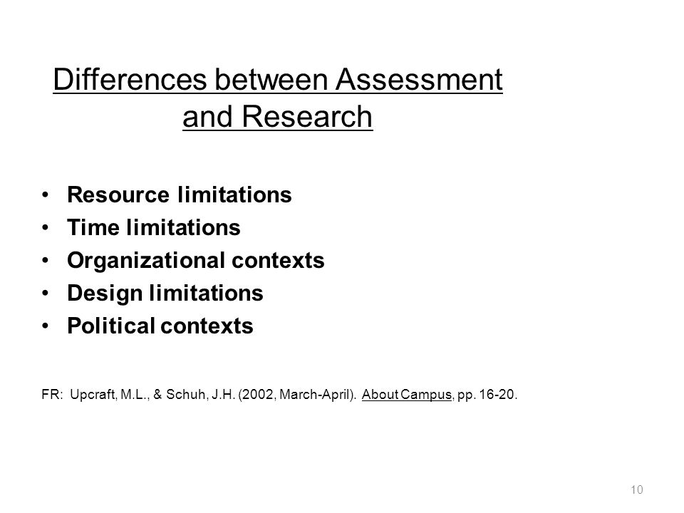 Differences between Assessment and Research Resource limitations Time limitations Organizational contexts Design limitations Political contexts FR: Upcraft, M.L., & Schuh, J.H.