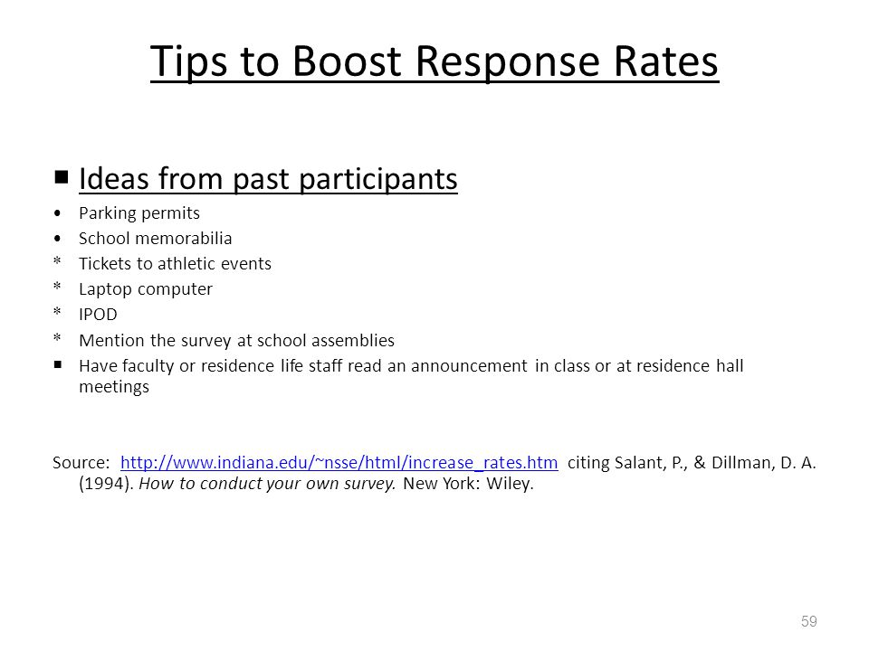 Tips to Boost Response Rates  Ideas from past participants Parking permits School memorabilia * Tickets to athletic events * Laptop computer * IPOD * Mention the survey at school assemblies  Have faculty or residence life staff read an announcement in class or at residence hall meetings Source: http://www.indiana.edu/~nsse/html/increase_rates.htm citing Salant, P., & Dillman, D.