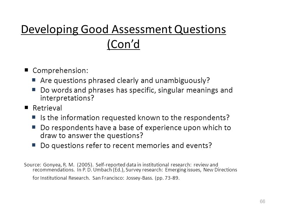 Developing Good Assessment Questions (Con'd  Comprehension:  Are questions phrased clearly and unambiguously.