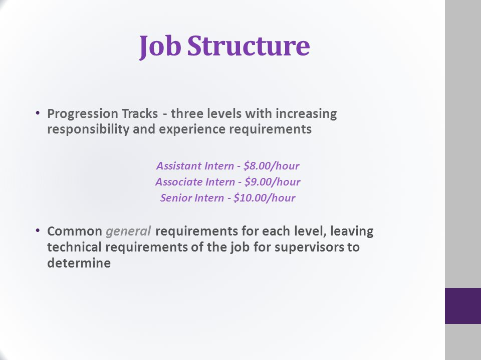 Job Structure Progression Tracks - three levels with increasing responsibility and experience requirements Assistant Intern - $8.00/hour Associate Intern - $9.00/hour Senior Intern - $10.00/hour Common general requirements for each level, leaving technical requirements of the job for supervisors to determine