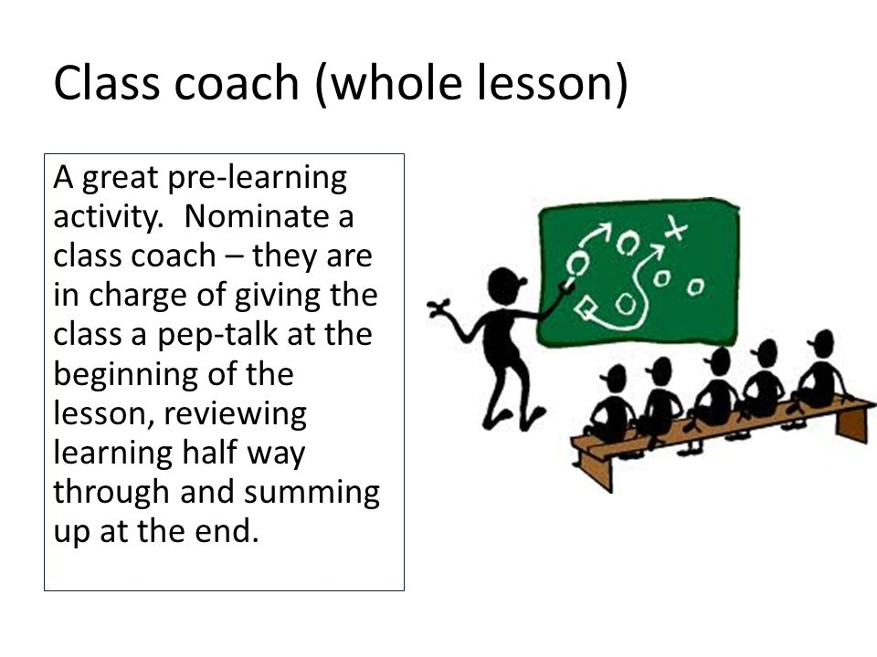 Class coach (whole lesson) A great pre-learning activity.