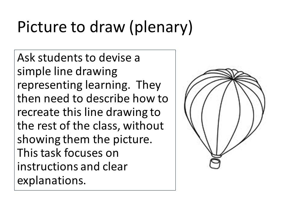 Picture to draw (plenary) Ask students to devise a simple line drawing representing learning.