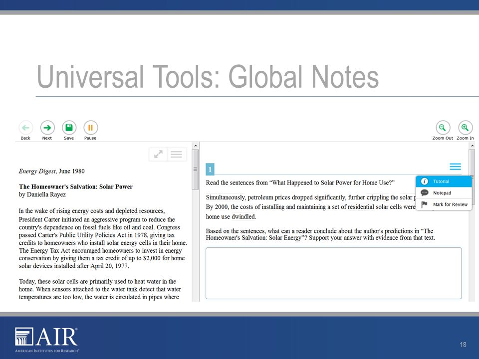 Universal Tools: Global Notes 18