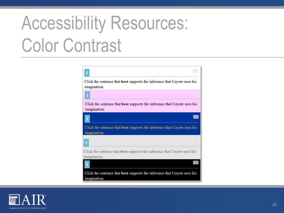 Accessibility Resources: Color Contrast 24