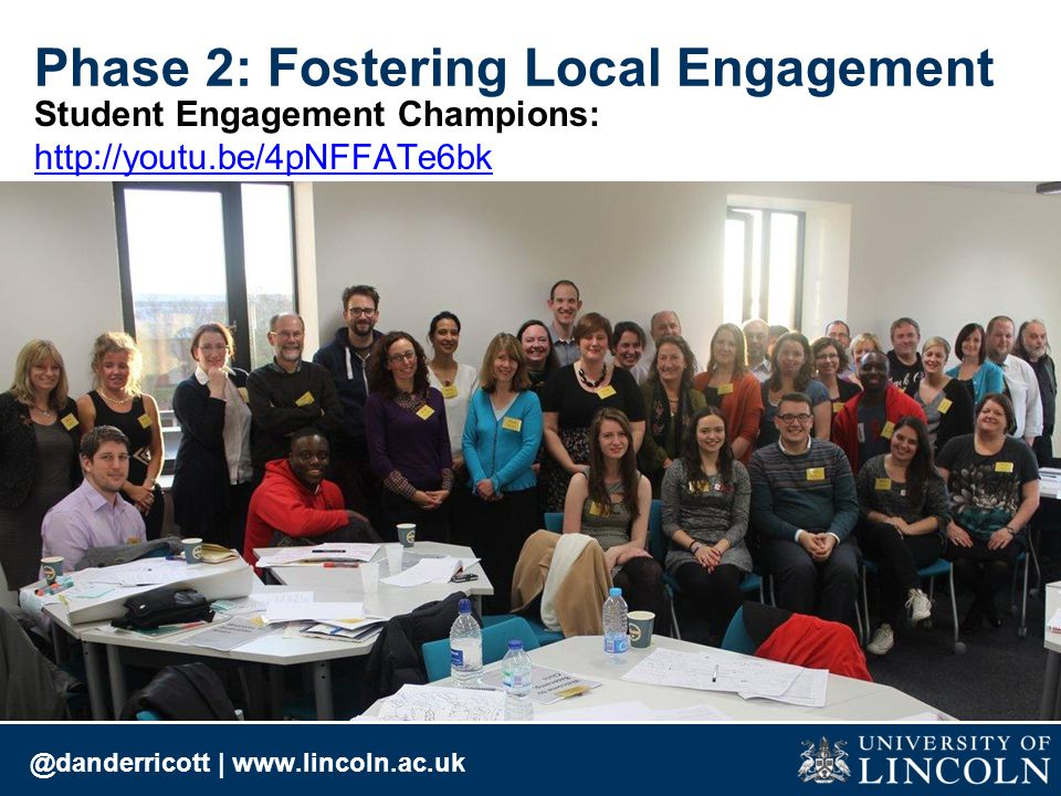 @danderricott | www.lincoln.ac.uk Phase 2: Fostering Local Engagement Student Engagement Champions: http://youtu.be/4pNFFATe6bk http://youtu.be/4pNFFATe6bk