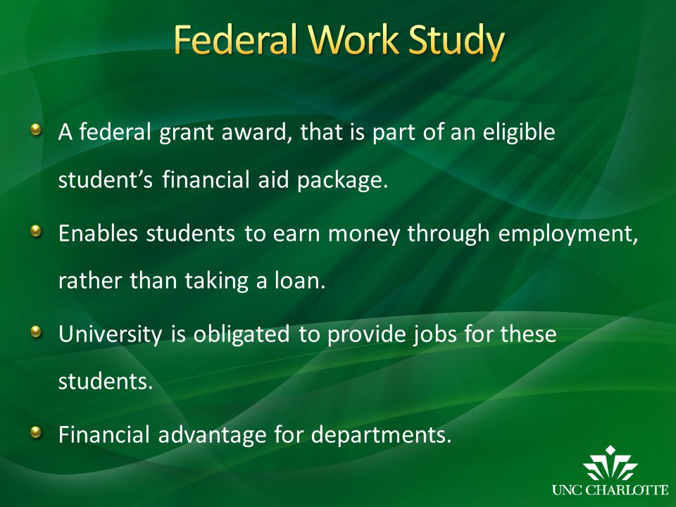A federal grant award, that is part of an eligible student's financial aid package.