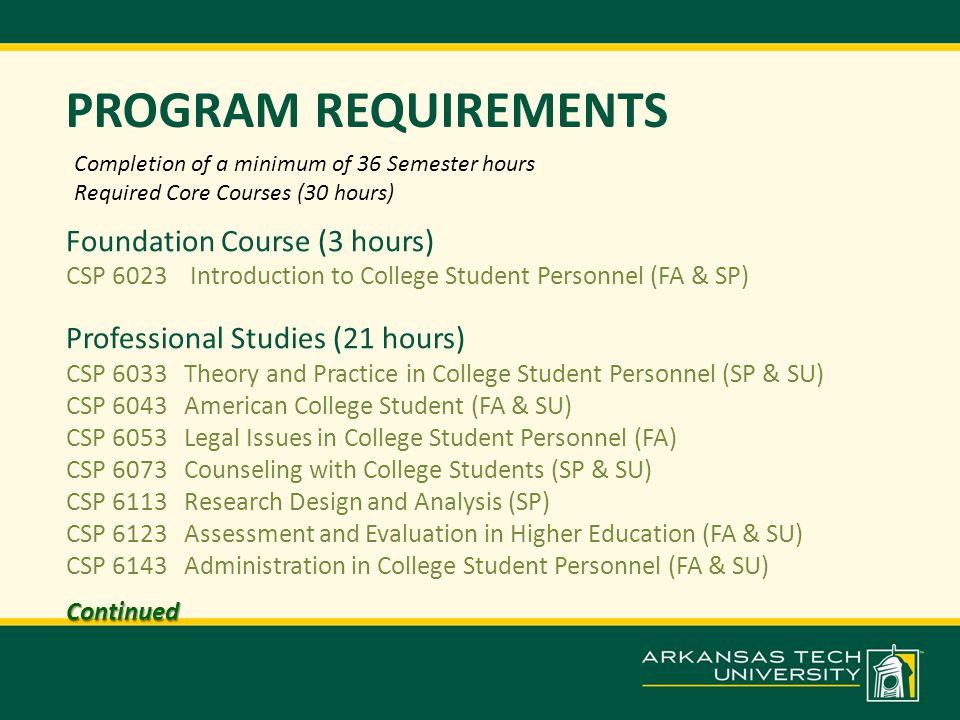 PROGRAM REQUIREMENTS Foundation Course (3 hours) CSP 6023 Introduction to College Student Personnel (FA & SP) Professional Studies (21 hours) CSP 6033 Theory and Practice in College Student Personnel (SP & SU) CSP 6043 American College Student (FA & SU) CSP 6053 Legal Issues in College Student Personnel (FA) CSP 6073 Counseling with College Students (SP & SU) CSP 6113 Research Design and Analysis (SP) CSP 6123 Assessment and Evaluation in Higher Education (FA & SU) CSP 6143 Administration in College Student Personnel (FA & SU)Continued Completion of a minimum of 36 Semester hours Required Core Courses (30 hours)