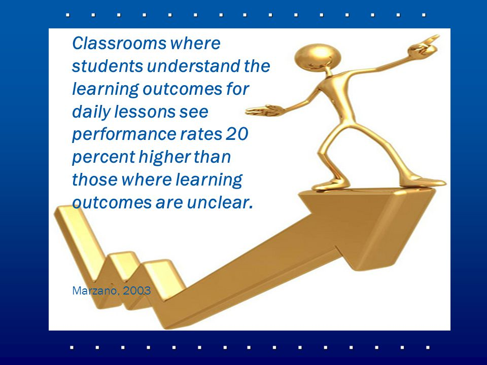 Classrooms where students understand the learning outcomes for daily lessons see performance rates 20 percent higher than those where learning outcomes are unclear.