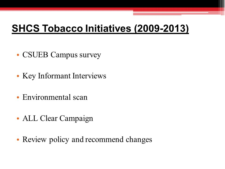 SHCS Tobacco Initiatives (2009-2013) CSUEB Campus survey Key Informant Interviews Environmental scan ALL Clear Campaign Review policy and recommend changes