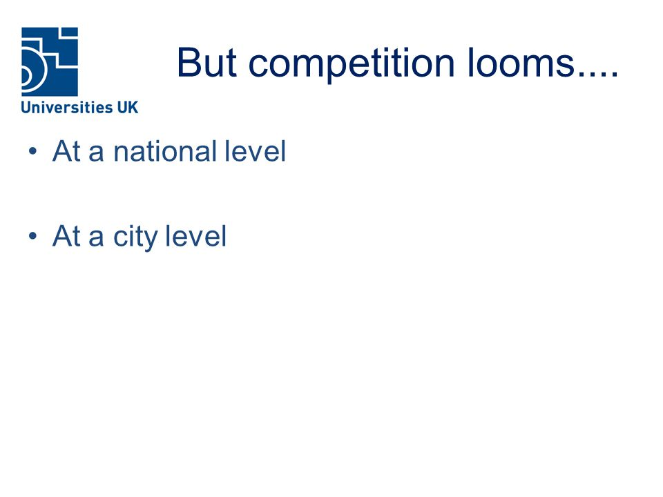 But competition looms.... At a national level At a city level