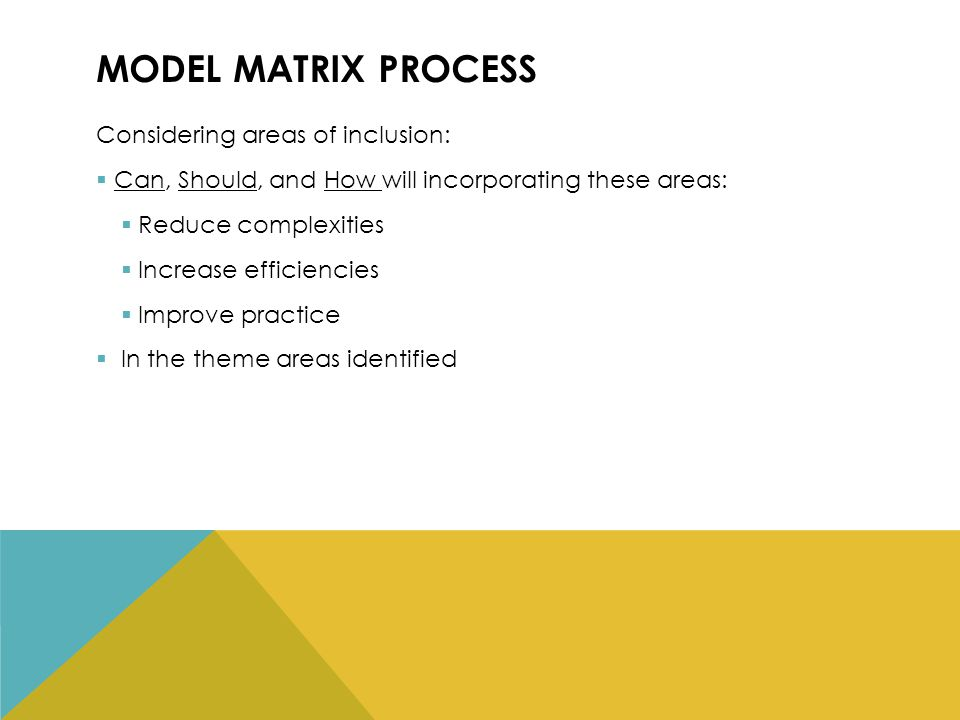 MODEL MATRIX PROCESS Considering areas of inclusion:  Can, Should, and How will incorporating these areas:  Reduce complexities  Increase efficiencies  Improve practice  In the theme areas identified