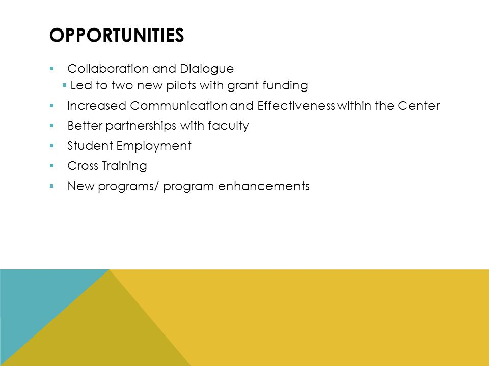 OPPORTUNITIES  Collaboration and Dialogue  Led to two new pilots with grant funding  Increased Communication and Effectiveness within the Center  Better partnerships with faculty  Student Employment  Cross Training  New programs/ program enhancements