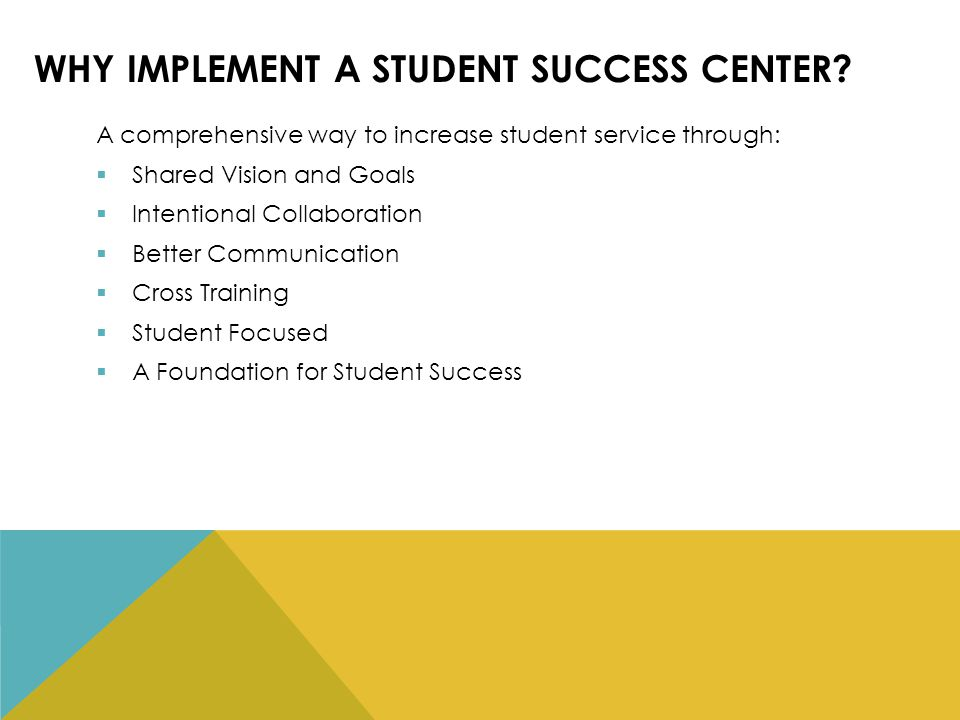 WHY IMPLEMENT A STUDENT SUCCESS CENTER.