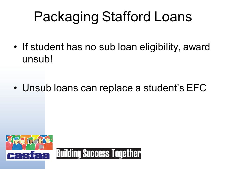 Packaging Stafford Loans Package loans after grant awards: – Pell, –SEOG, –ACG or SMART,