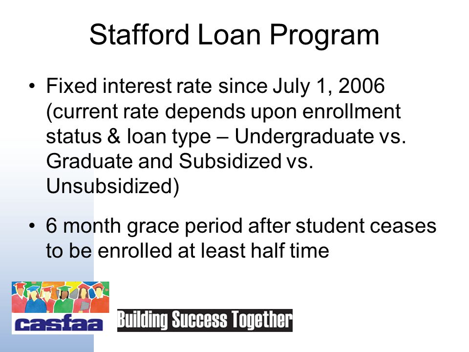 Stafford Loan Types Subsidized –Need-based loan –No interest accrues while enrolled Unsubsidized –Non-need based loan –Additional unsubsidized amounts for: Independent Parent PLUS denial