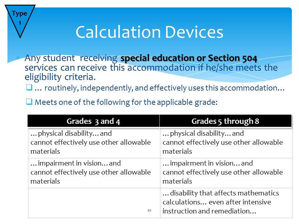special education or Section 504  Any student receiving special education or Section 504 services can receive this accommodation if he/she meets the eligibility criteria.