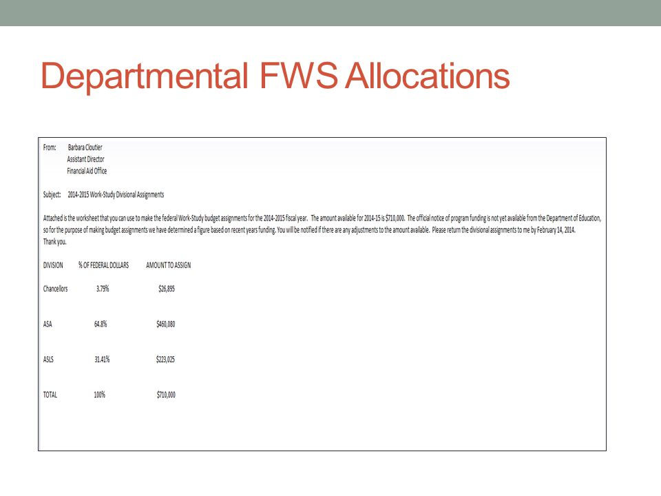 Departmental FWS Allocations