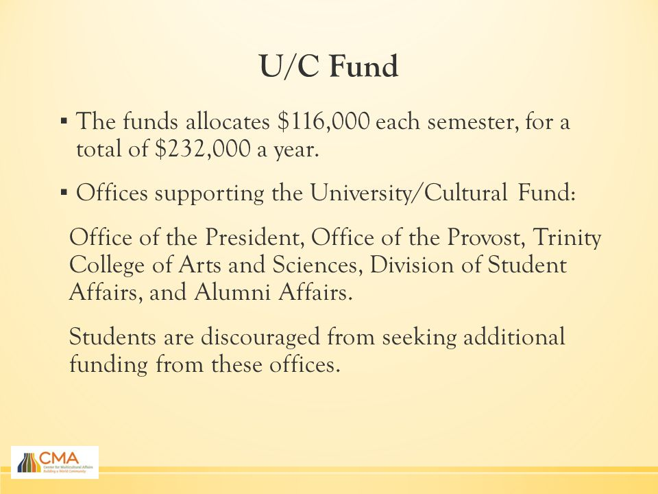 U/C Fund ▪ The funds allocates $116,000 each semester, for a total of $232,000 a year.