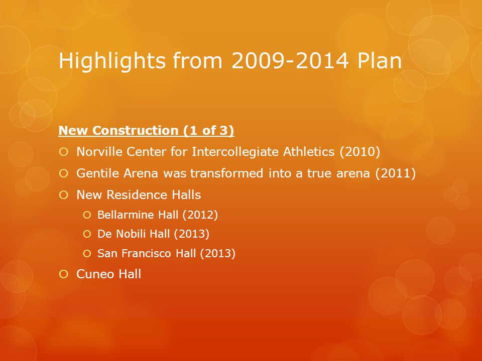 Highlights from 2009-2014 Plan New Construction (1 of 3)  Norville Center for Intercollegiate Athletics (2010)  Gentile Arena was transformed into a true arena (2011)  New Residence Halls  Bellarmine Hall (2012)  De Nobili Hall (2013)  San Francisco Hall (2013)  Cuneo Hall