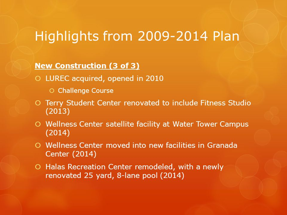 Highlights from 2009-2014 Plan New Construction (3 of 3)  LUREC acquired, opened in 2010  Challenge Course  Terry Student Center renovated to include Fitness Studio (2013)  Wellness Center satellite facility at Water Tower Campus (2014)  Wellness Center moved into new facilities in Granada Center (2014)  Halas Recreation Center remodeled, with a newly renovated 25 yard, 8-lane pool (2014)