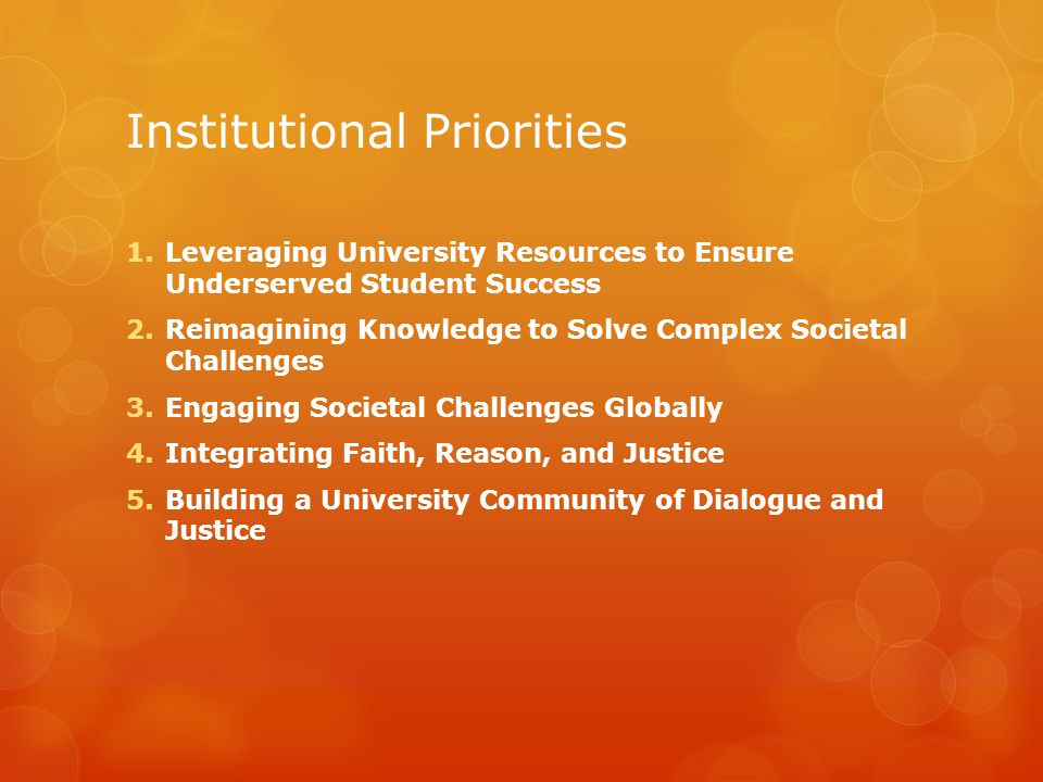 Institutional Priorities 1.Leveraging University Resources to Ensure Underserved Student Success 2.Reimagining Knowledge to Solve Complex Societal Challenges 3.Engaging Societal Challenges Globally 4.Integrating Faith, Reason, and Justice 5.Building a University Community of Dialogue and Justice