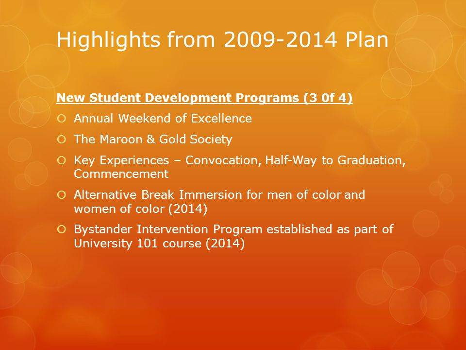 Highlights from 2009-2014 Plan New Student Development Programs (3 0f 4)  Annual Weekend of Excellence  The Maroon & Gold Society  Key Experiences – Convocation, Half-Way to Graduation, Commencement  Alternative Break Immersion for men of color and women of color (2014)  Bystander Intervention Program established as part of University 101 course (2014)