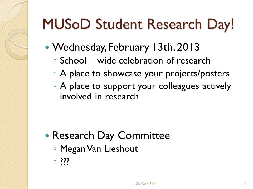MUSoD Student Research Day.