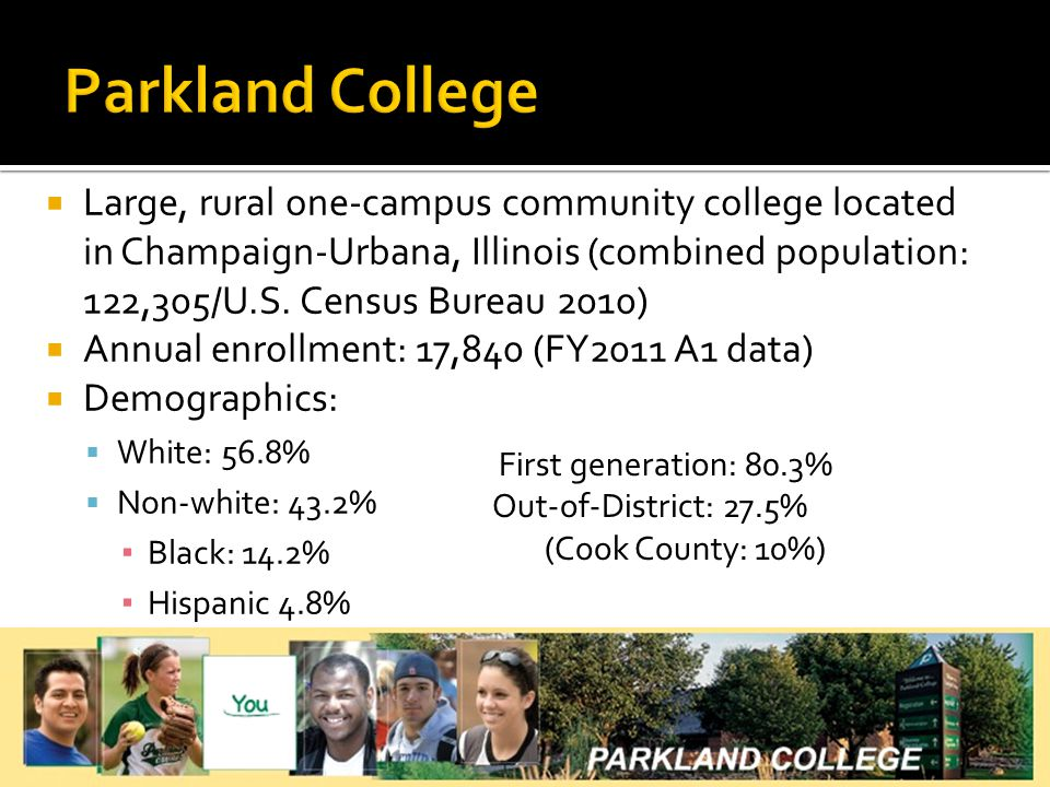  Large, rural one-campus community college located in Champaign-Urbana, Illinois (combined population: 122,305/U.S.