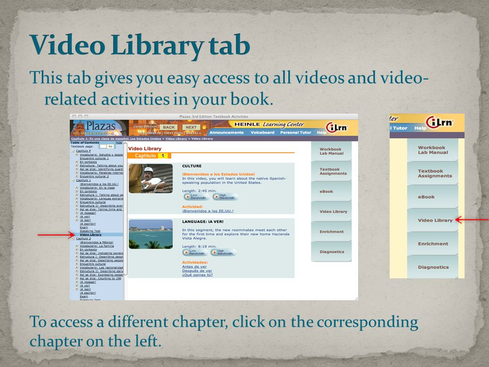This tab gives you easy access to all videos and video- related activities in your book.
