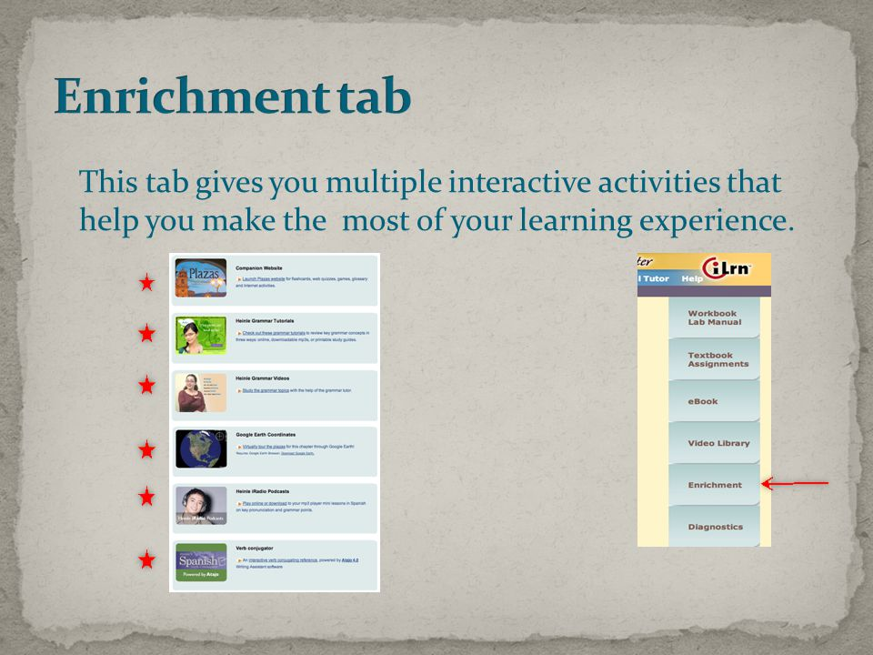 This tab gives you multiple interactive activities that help you make the most of your learning experience.