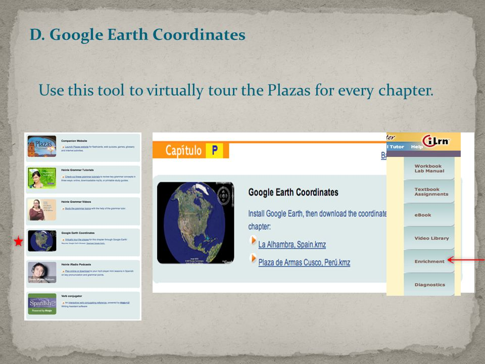 D. Google Earth Coordinates Use this tool to virtually tour the Plazas for every chapter.