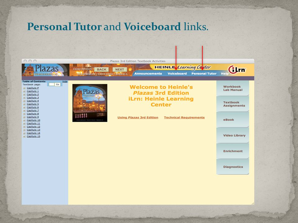 Personal Tutor and Voiceboard links.