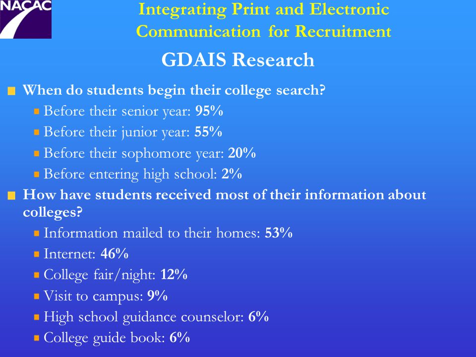 GDAIS Research When do students begin their college search.