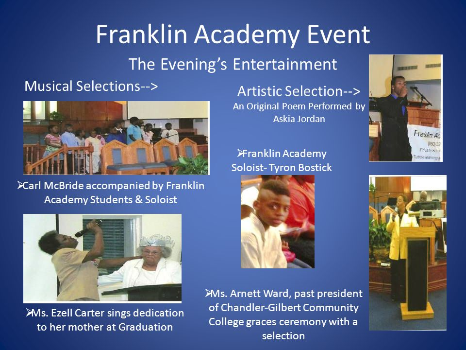 Franklin Academy Event Franklin Academy Students Giving Back Inspirational Speeches from former students  2012 Fall Valedictorian Alicia Ramirez gives her heartfelt graduation speech  Former Student Alex Koonce tells his tale of attending Franklin Academy.