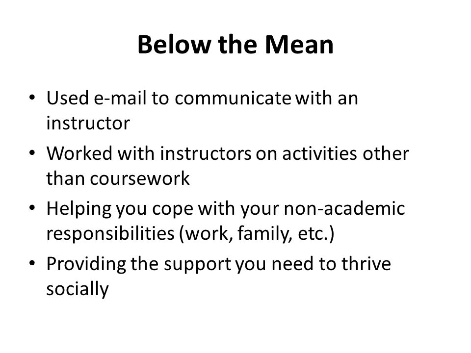 Below the Mean Used e-mail to communicate with an instructor Worked with instructors on activities other than coursework Helping you cope with your non-academic responsibilities (work, family, etc.) Providing the support you need to thrive socially