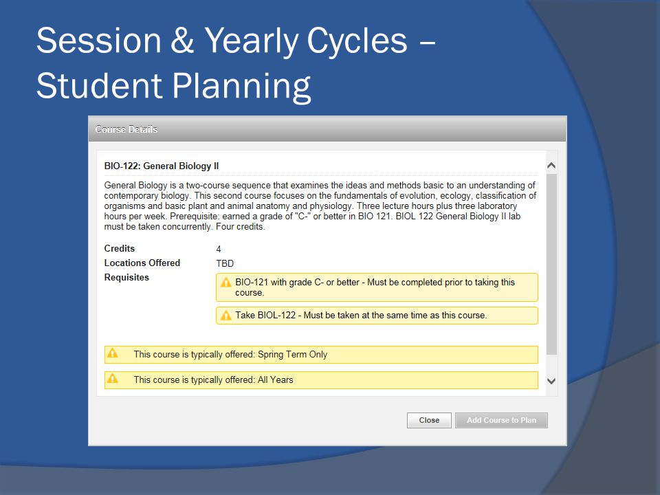 Session & Yearly Cycles – Student Planning