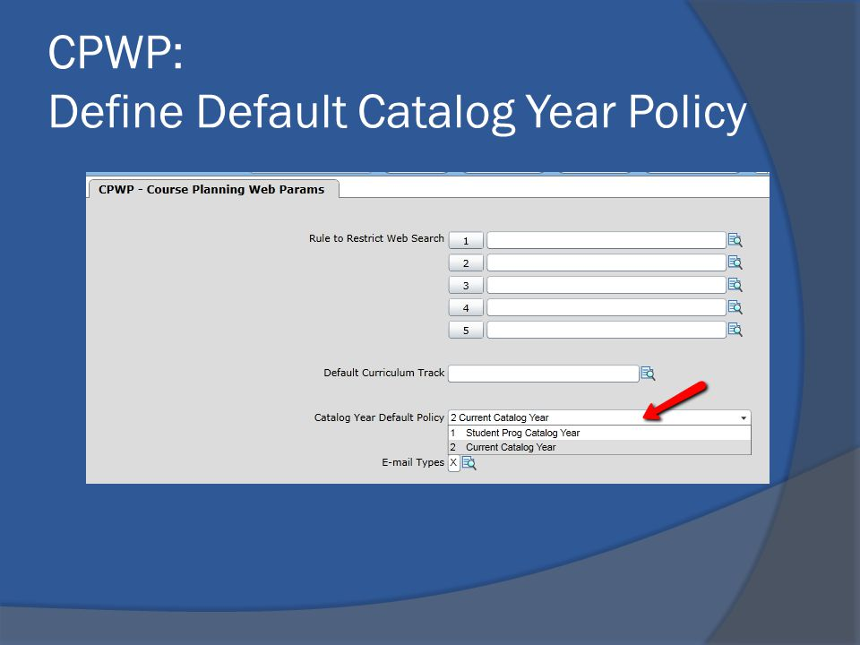 CPWP: Define Default Catalog Year Policy
