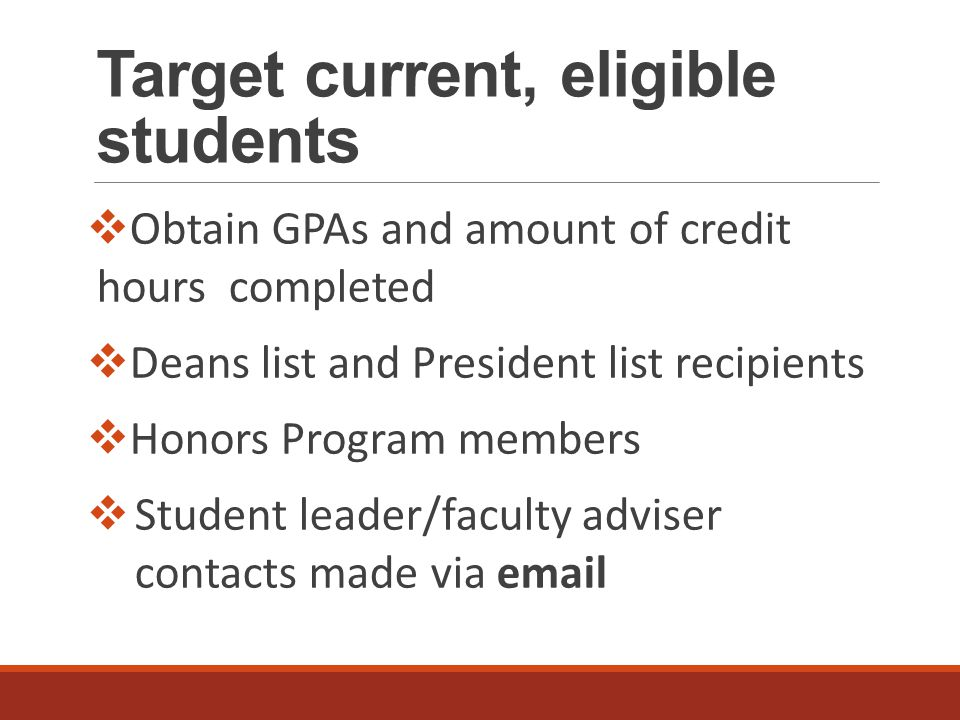 Target current, eligible students  Obtain GPAs and amount of credit hours completed  Deans list and President list recipients  Honors Program members  Student leader/faculty adviser contacts made via email