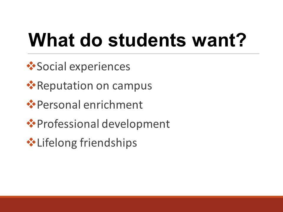What do students want.